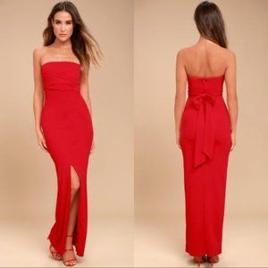 Lulu's Own the Night Strapless Red Maxi Dress